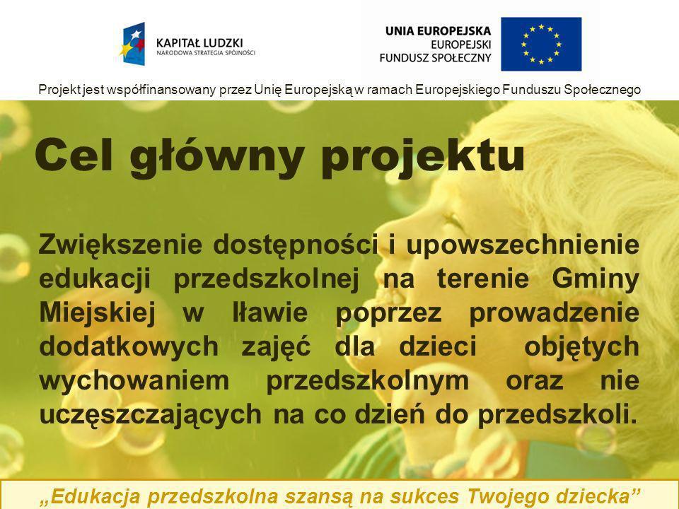 Cel główny projektu Zwiększenie dostępności i upowszechnienie edukacji przedszkolnej na terenie Gminy Miejskiej w Iławie poprzez prowadzenie dodatkowych zajęć dla dzieci objętych wychowaniem przedszkolnym oraz nie uczęszczających na co dzień do przedszkoli.