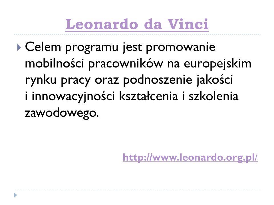 Leonardo da Vinci Celem programu jest promowanie mobilności pracowników na europejskim rynku pracy oraz podnoszenie jakości i innowacyjności kształcen