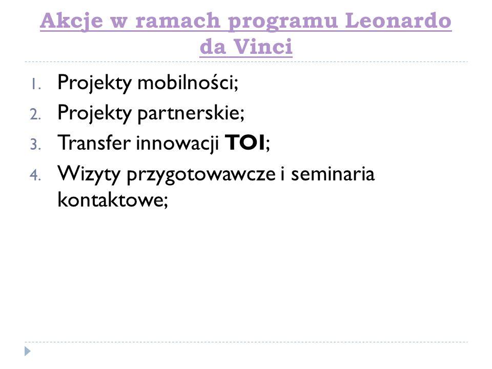 Akcje w ramach programu Leonardo da Vinci 1. Projekty mobilności; 2. Projekty partnerskie; 3. Transfer innowacji TOI; 4. Wizyty przygotowawcze i semin