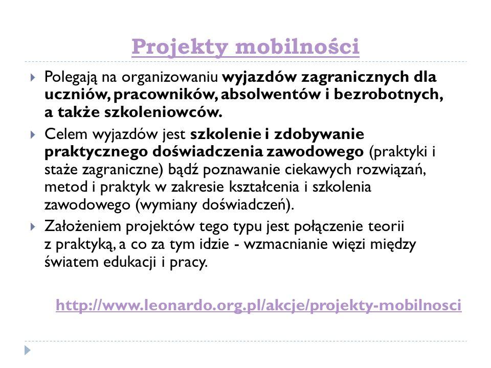 Projekty mobilności Polegają na organizowaniu wyjazdów zagranicznych dla uczniów, pracowników, absolwentów i bezrobotnych, a także szkoleniowców. Cele