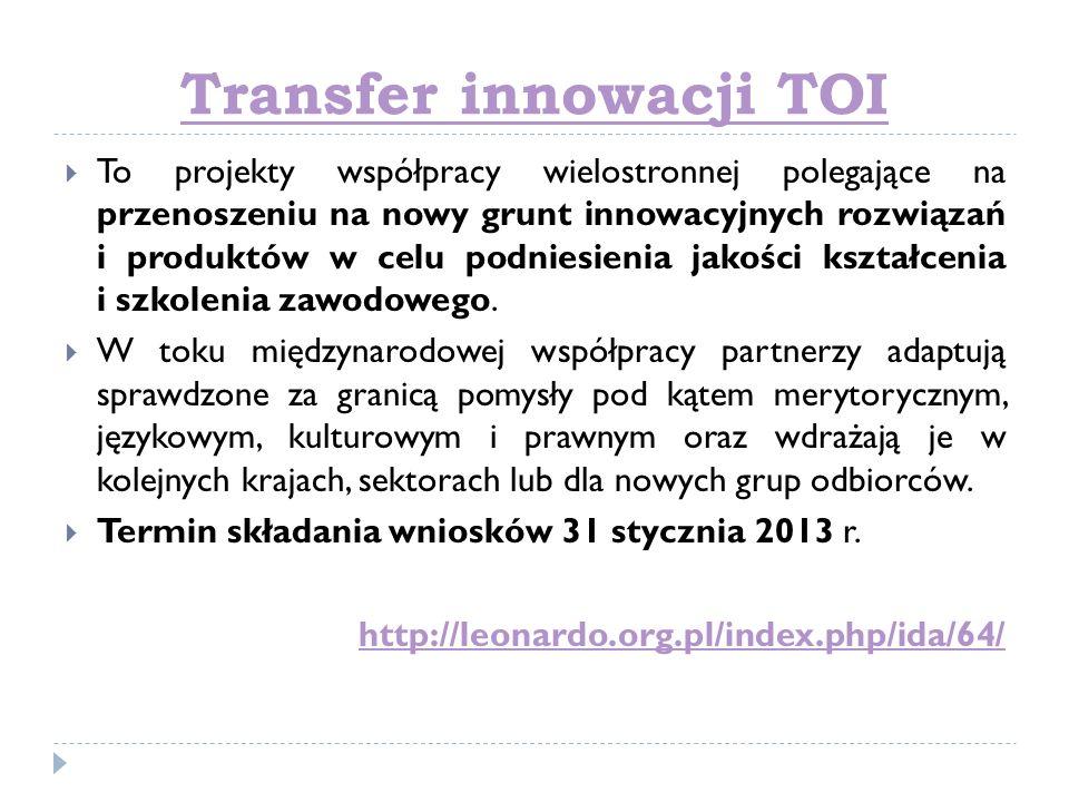 Transfer innowacji TOI To projekty współpracy wielostronnej polegające na przenoszeniu na nowy grunt innowacyjnych rozwiązań i produktów w celu podnie