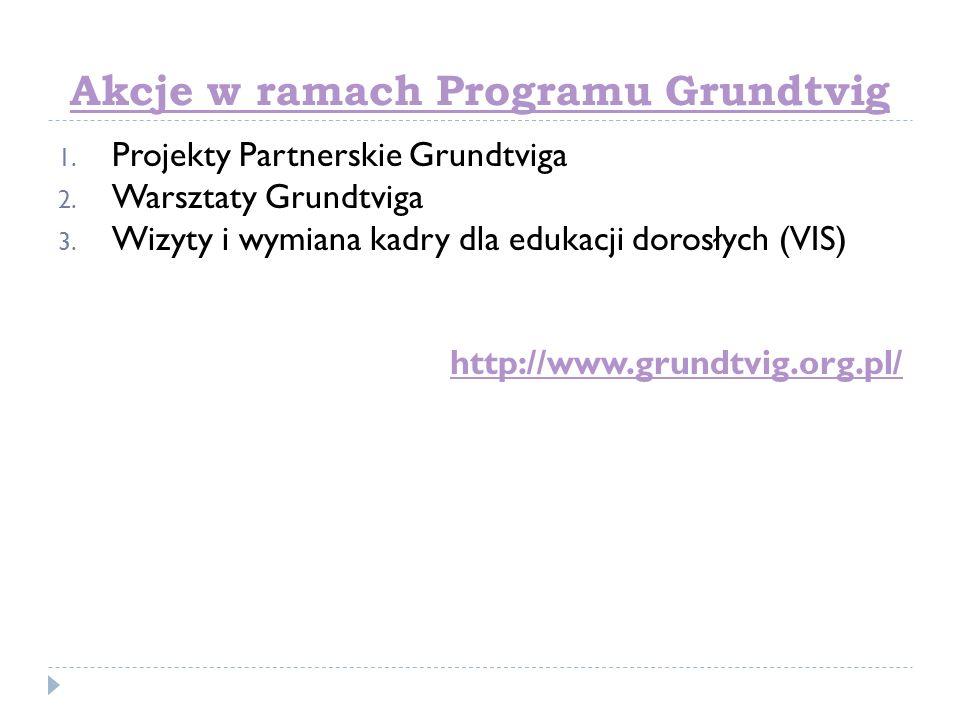 Akcje w ramach Programu Grundtvig 1. Projekty Partnerskie Grundtviga 2. Warsztaty Grundtviga 3. Wizyty i wymiana kadry dla edukacji dorosłych (VIS) ht