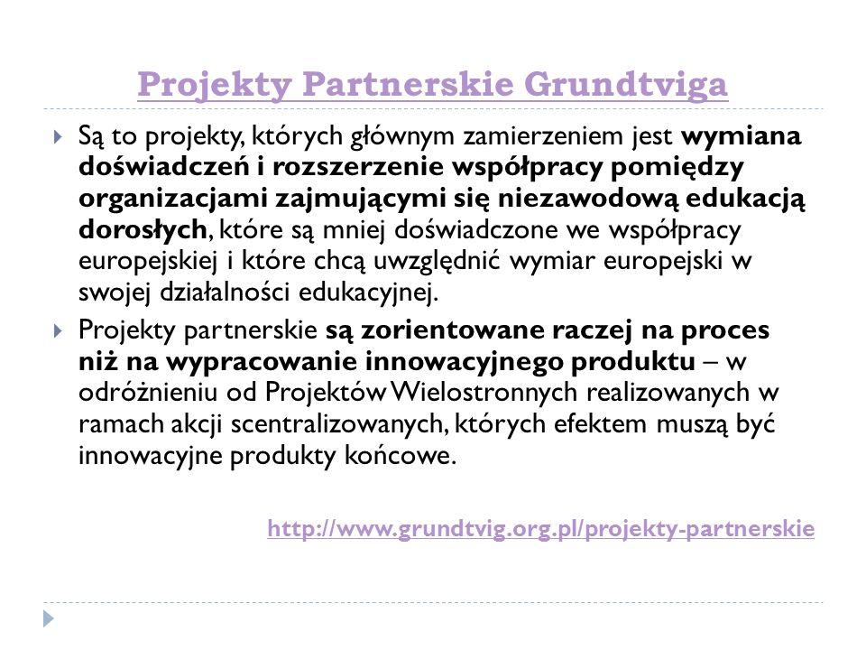 Projekty Partnerskie Grundtviga Są to projekty, których głównym zamierzeniem jest wymiana doświadczeń i rozszerzenie współpracy pomiędzy organizacjami