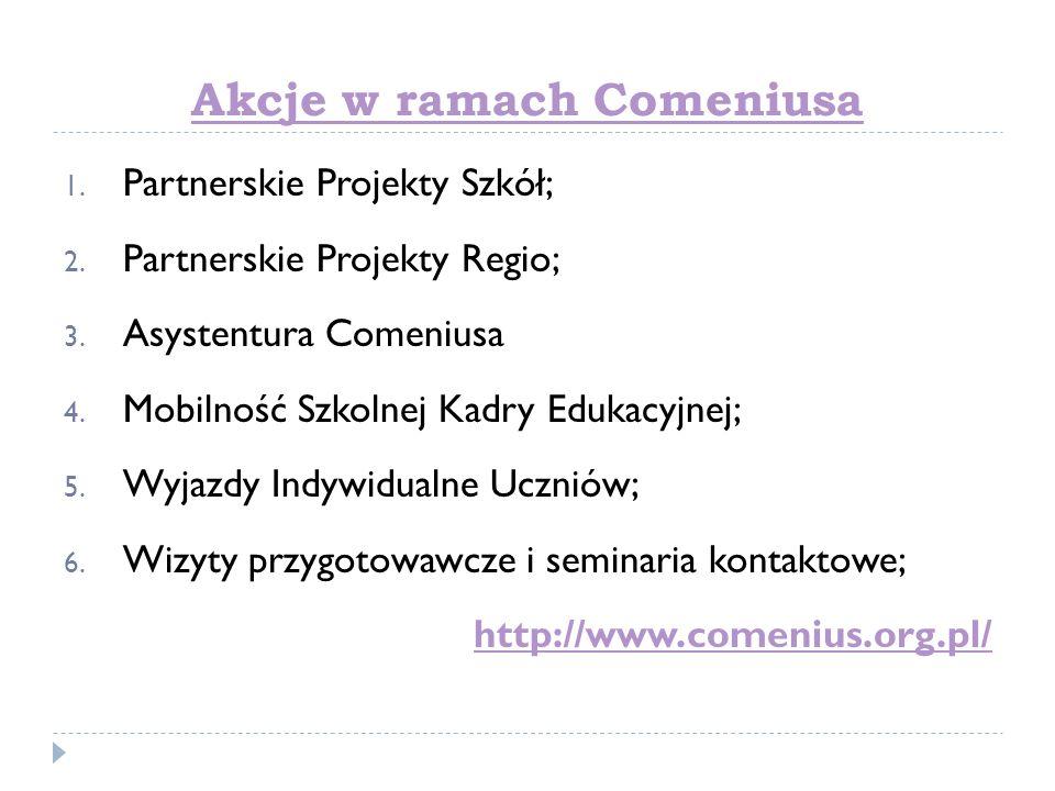 Akcje w ramach Comeniusa 1. Partnerskie Projekty Szkół; 2. Partnerskie Projekty Regio; 3. Asystentura Comeniusa 4. Mobilność Szkolnej Kadry Edukacyjne
