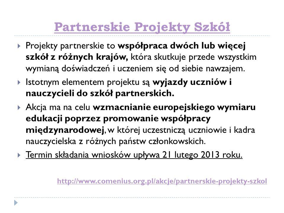 Partnerskie Projekty Szkół Projekty partnerskie to współpraca dwóch lub więcej szkół z różnych krajów, która skutkuje przede wszystkim wymianą doświad