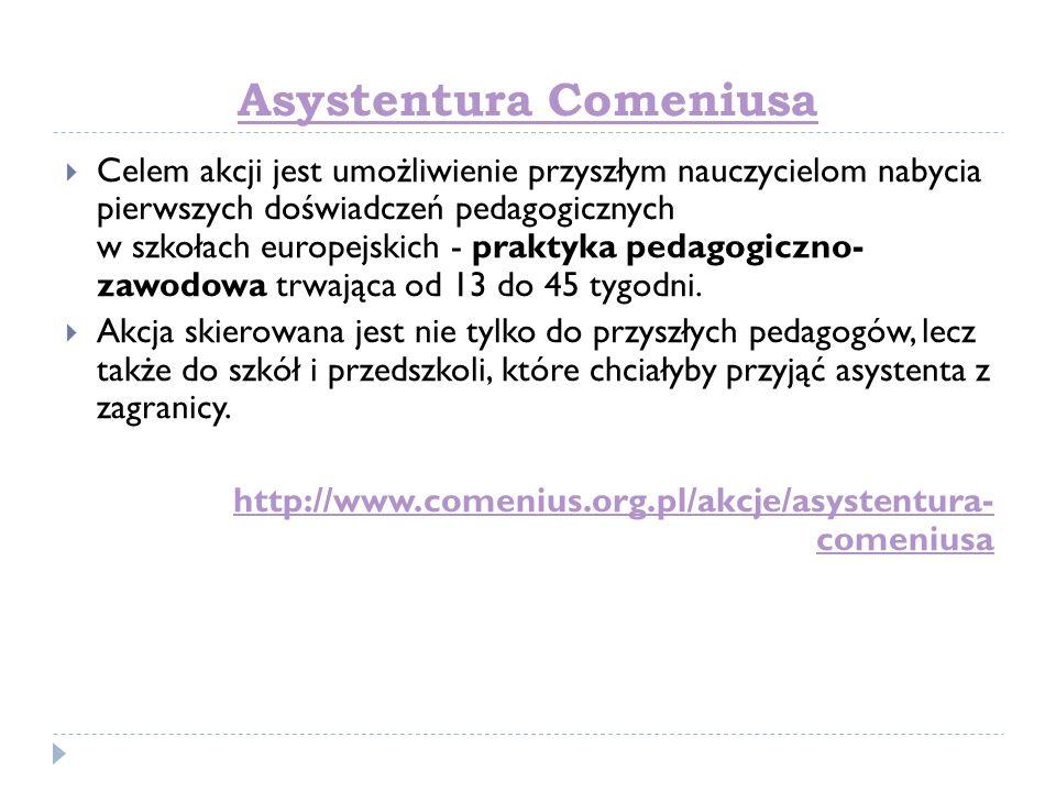 Asystentura Comeniusa Celem akcji jest umożliwienie przyszłym nauczycielom nabycia pierwszych doświadczeń pedagogicznych w szkołach europejskich - pra