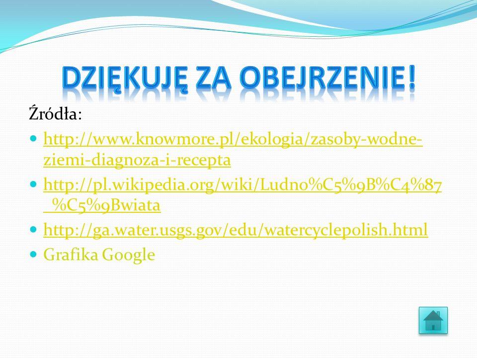 Źródła: http://www.knowmore.pl/ekologia/zasoby-wodne- ziemi-diagnoza-i-recepta http://www.knowmore.pl/ekologia/zasoby-wodne- ziemi-diagnoza-i-recepta