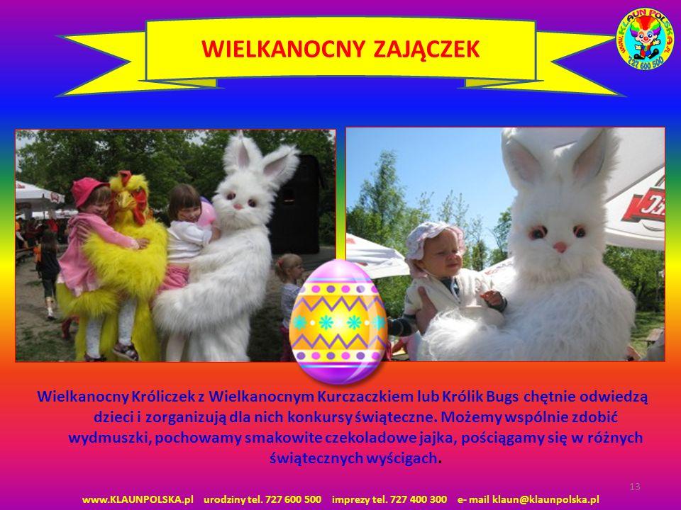 www.KLAUNPOLSKA.pl urodziny tel. 727 600 500 imprezy tel. 727 400 300 e- mail klaun@klaunpolska.pl 13 WIELKANOCNY ZAJĄCZEK Wielkanocny Króliczek z Wie