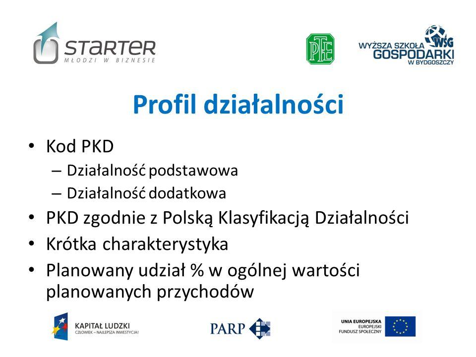 Profil działalności Kod PKD – Działalność podstawowa – Działalność dodatkowa PKD zgodnie z Polską Klasyfikacją Działalności Krótka charakterystyka Pla