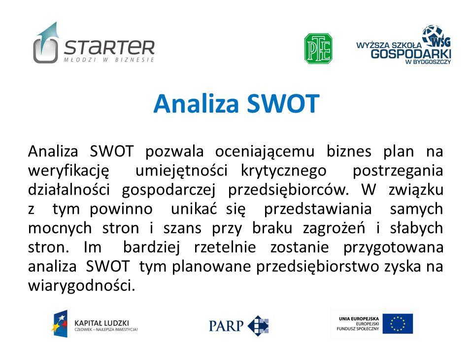 Analiza SWOT Analiza SWOT pozwala oceniającemu biznes plan na weryfikację umiejętności krytycznego postrzegania działalności gospodarczej przedsiębior