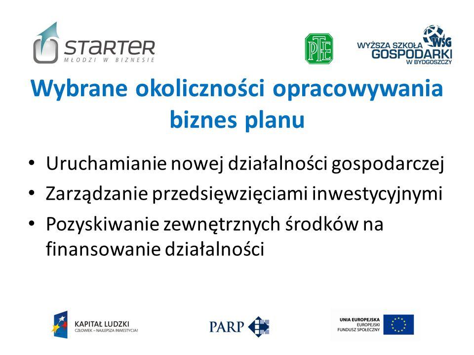 Wybrane okoliczności opracowywania biznes planu Uruchamianie nowej działalności gospodarczej Zarządzanie przedsięwzięciami inwestycyjnymi Pozyskiwanie