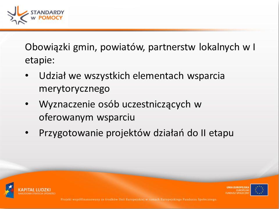 Obowiązki gmin, powiatów, partnerstw lokalnych w I etapie: Udział we wszystkich elementach wsparcia merytorycznego Wyznaczenie osób uczestniczących w