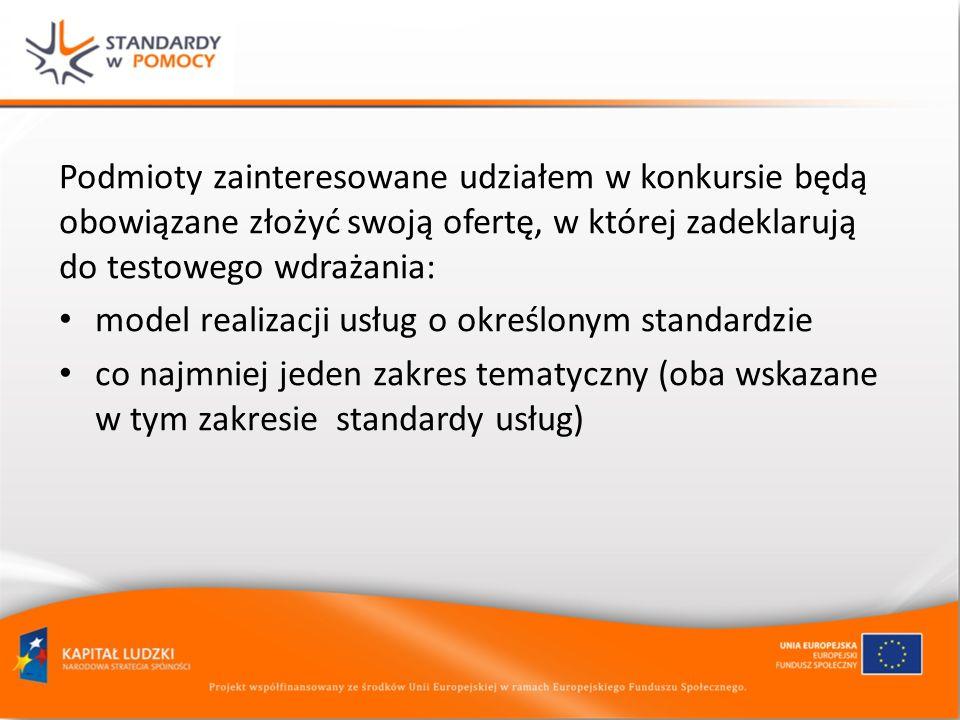 Podmioty zainteresowane udziałem w konkursie będą obowiązane złożyć swoją ofertę, w której zadeklarują do testowego wdrażania: model realizacji usług