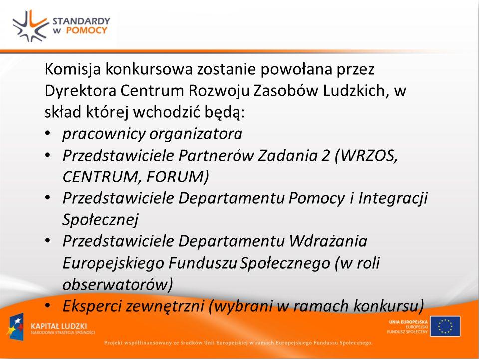 Komisja konkursowa zostanie powołana przez Dyrektora Centrum Rozwoju Zasobów Ludzkich, w skład której wchodzić będą: pracownicy organizatora Przedstaw