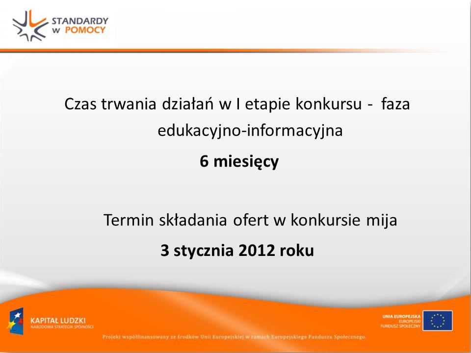 Czas trwania działań w I etapie konkursu - faza edukacyjno-informacyjna 6 miesięcy Termin składania ofert w konkursie mija 3 stycznia 2012 roku