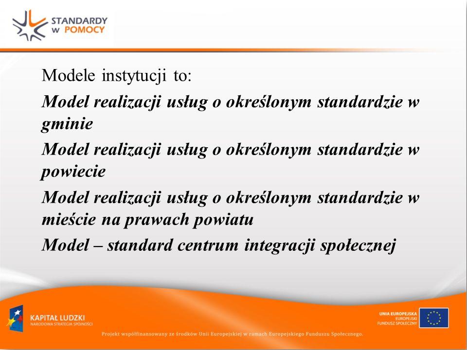 Modele instytucji to: Model realizacji usług o określonym standardzie w gminie Model realizacji usług o określonym standardzie w powiecie Model realiz