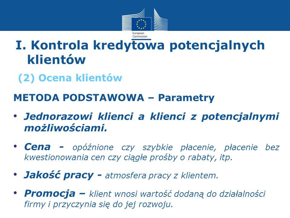 I. Kontrola kredytowa potencjalnych klientów METODA PODSTAWOWA – Parametry Jednorazowi klienci a klienci z potencjalnymi możliwościami. Cena - opóźnio