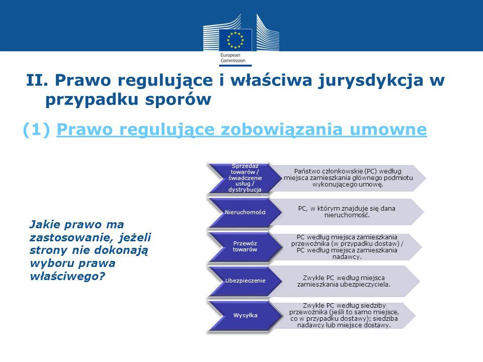 Jakie prawo ma zastosowanie, jeżeli strony nie dokonają wyboru prawa właściwego? Sprzedaż towarów / świadczenie usług / dystrybucja Państwo członkowsk