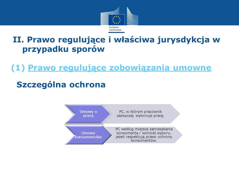 Umowy o pracę Umowy konsumenckie PC według miejsca zamieszkania konsumenta / wolność wyboru, jeżeli respektują prawo ochrony konsumentów. PC, w którym