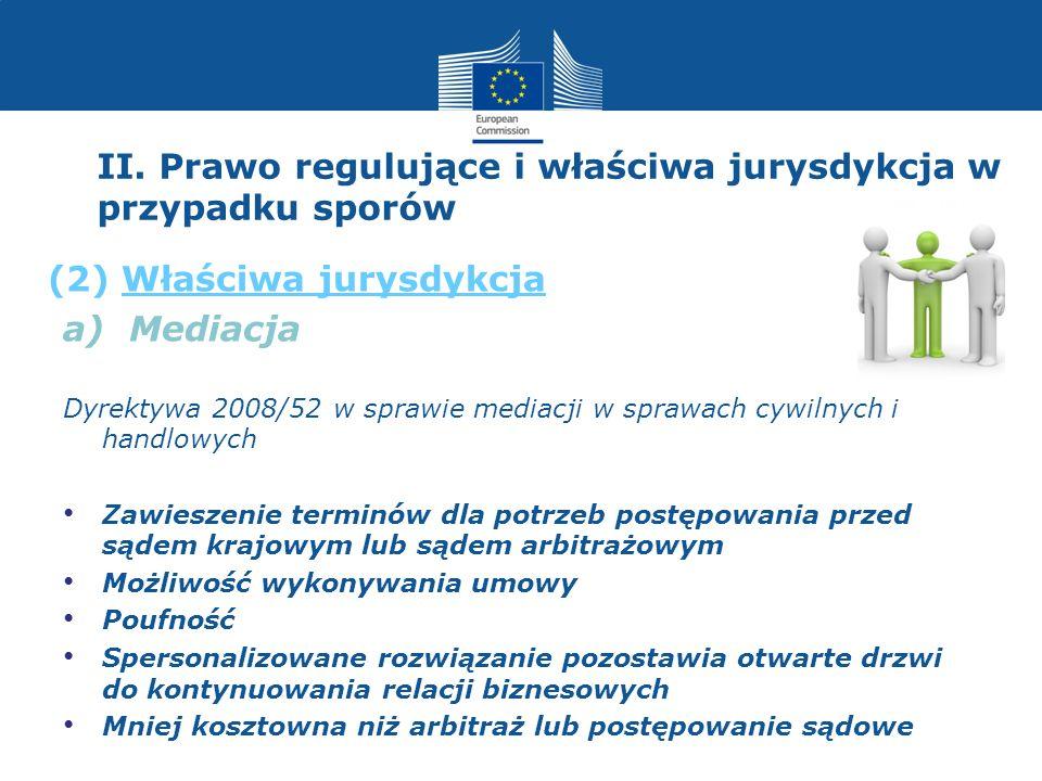 II. Prawo regulujące i właściwa jurysdykcja w przypadku sporów a) Mediacja Dyrektywa 2008/52 w sprawie mediacji w sprawach cywilnych i handlowych Zawi