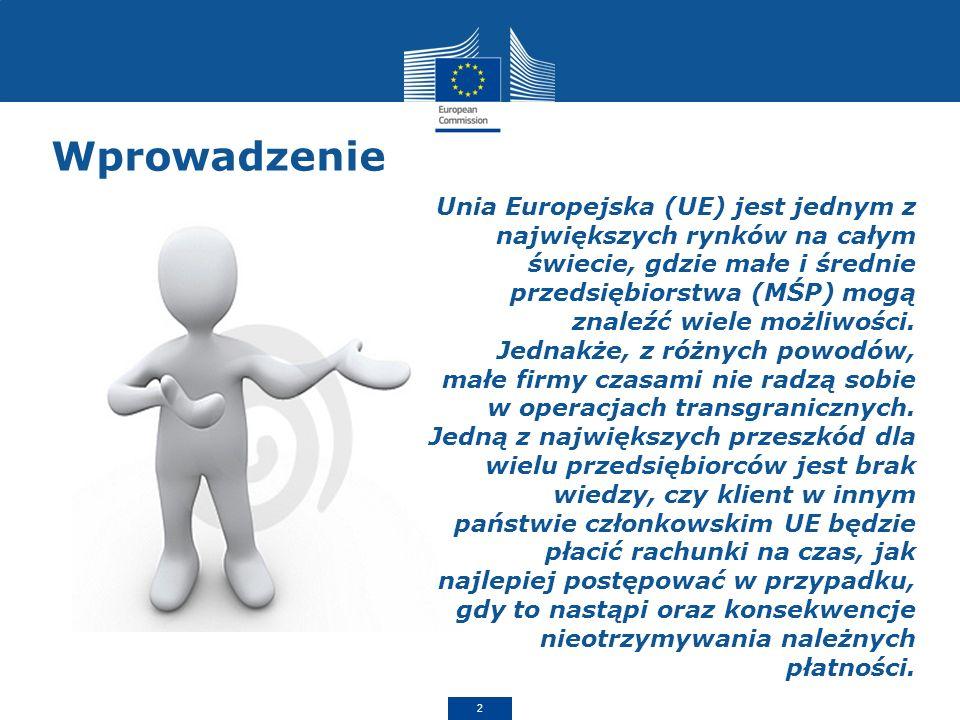 Wprowadzenie 2 Unia Europejska (UE) jest jednym z największych rynków na całym świecie, gdzie małe i średnie przedsiębiorstwa (MŚP) mogą znaleźć wiele