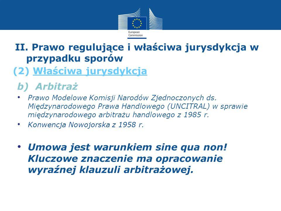 II. Prawo regulujące i właściwa jurysdykcja w przypadku sporów (2) Właściwa jurysdykcja b) Arbitraż Prawo Modelowe Komisji Narodów Zjednoczonych ds. M