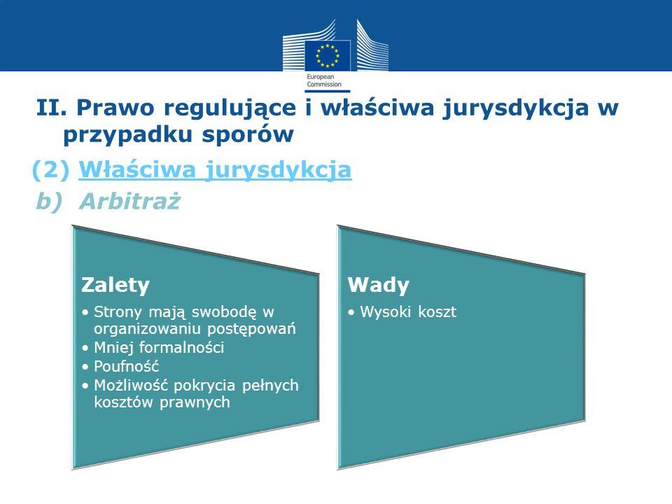b) Arbitraż II. Prawo regulujące i właściwa jurysdykcja w przypadku sporów (2) Właściwa jurysdykcja Zalety Strony mają swobodę w organizowaniu postępo