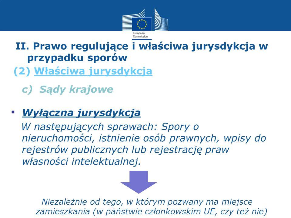 II. Prawo regulujące i właściwa jurysdykcja w przypadku sporów c) Sądy krajowe Wyłączna jurysdykcja W następujących sprawach: Spory o nieruchomości, i