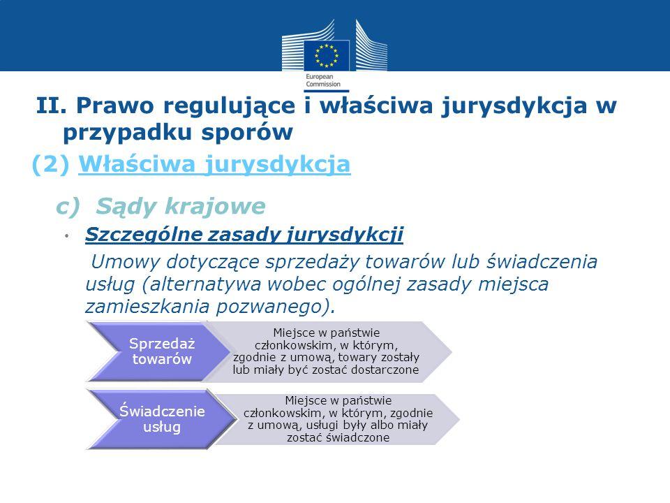 II. Prawo regulujące i właściwa jurysdykcja w przypadku sporów c) Sądy krajowe Szczególne zasady jurysdykcji Umowy dotyczące sprzedaży towarów lub świ