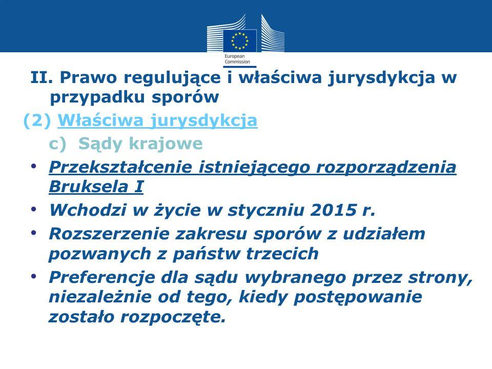 II. Prawo regulujące i właściwa jurysdykcja w przypadku sporów c) Sądy krajowe Przekształcenie istniejącego rozporządzenia Bruksela I Wchodzi w życie