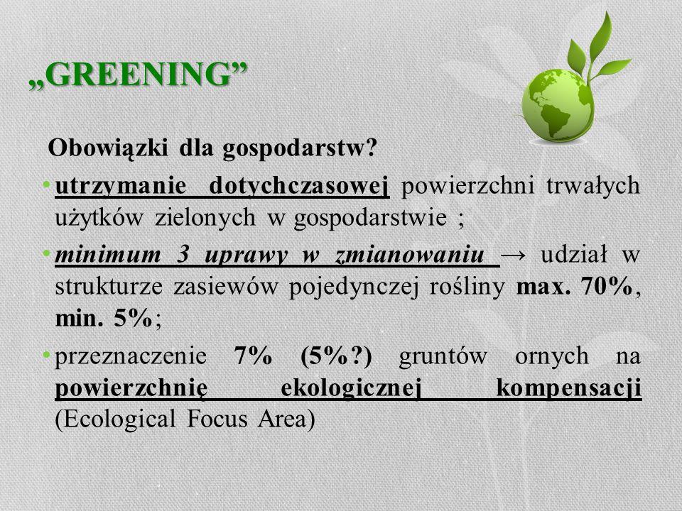 GREENING Obowiązki dla gospodarstw? utrzymanie dotychczasowej powierzchni trwałych użytków zielonych w gospodarstwie ; minimum 3 uprawy w zmianowaniu
