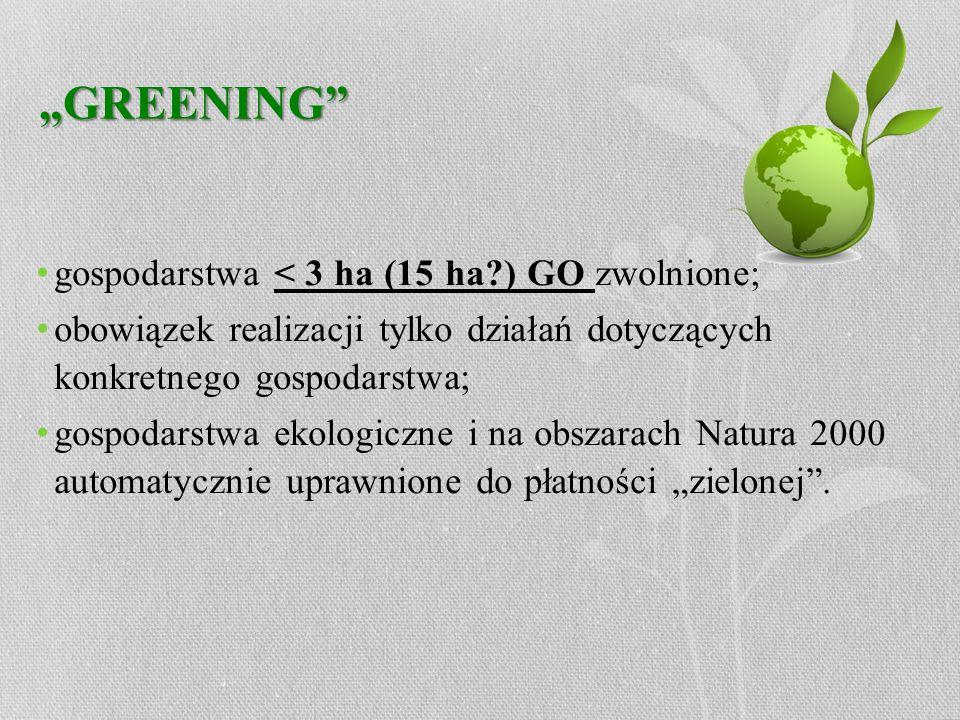 GREENING gospodarstwa < 3 ha (15 ha?) GO zwolnione; obowiązek realizacji tylko działań dotyczących konkretnego gospodarstwa; gospodarstwa ekologiczne
