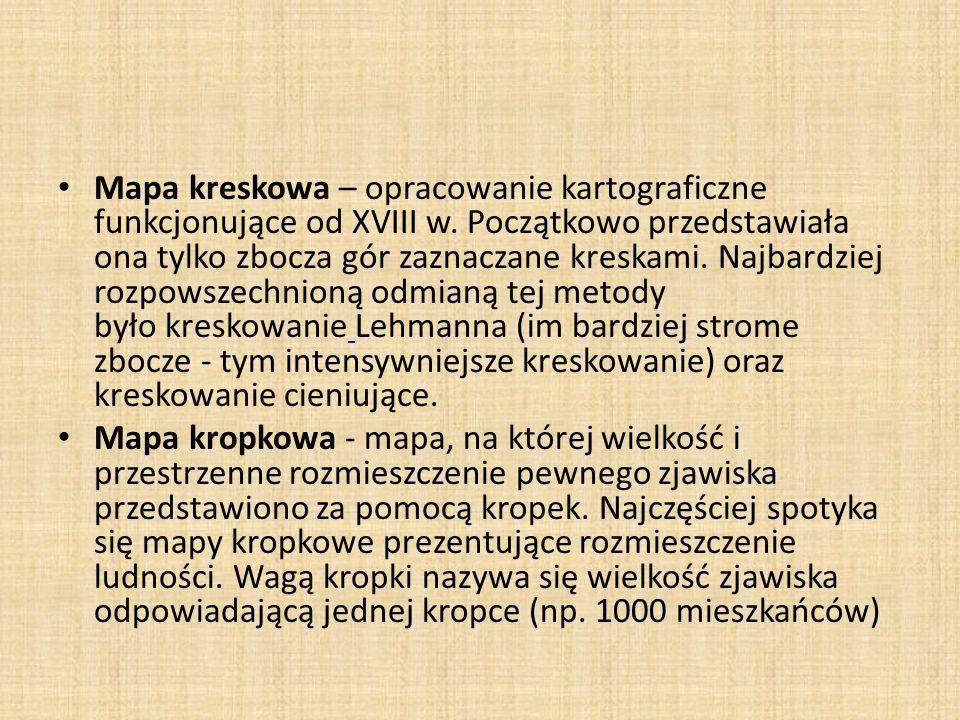 Mapa kreskowa – opracowanie kartograficzne funkcjonujące od XVIII w.