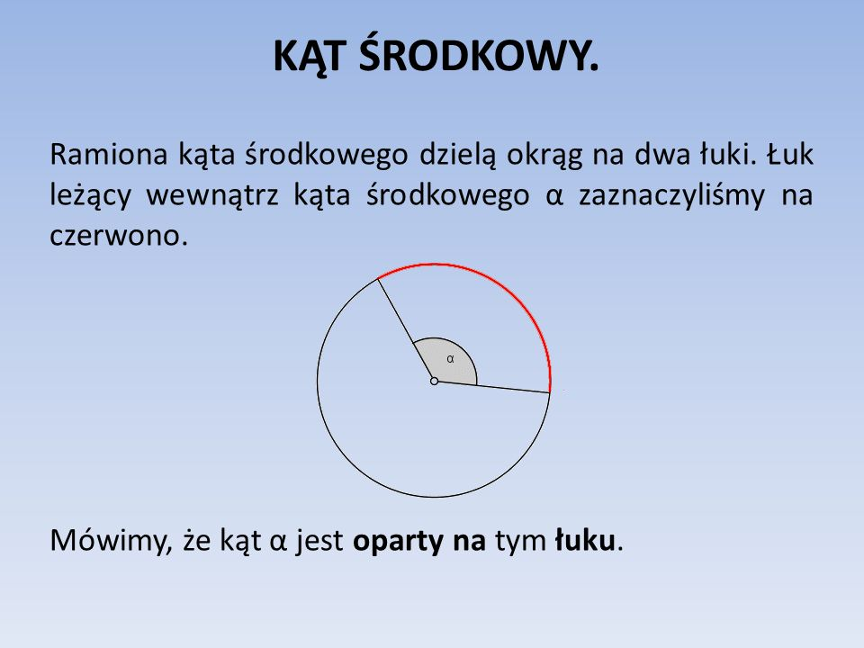 KĄT ŚRODKOWY. Ramiona kąta środkowego dzielą okrąg na dwa łuki. Łuk leżący wewnątrz kąta środkowego α zaznaczyliśmy na czerwono. Mówimy, że kąt α jest
