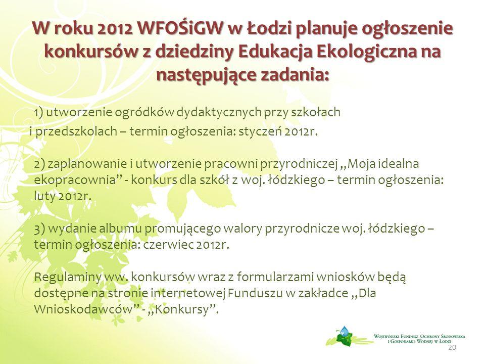 W roku 2012 WFOŚiGW w Łodzi planuje ogłoszenie konkursów z dziedziny Edukacja Ekologiczna na następujące zadania: 1) utworzenie ogródków dydaktycznych przy szkołach i przedszkolach – termin ogłoszenia: styczeń 2012r.