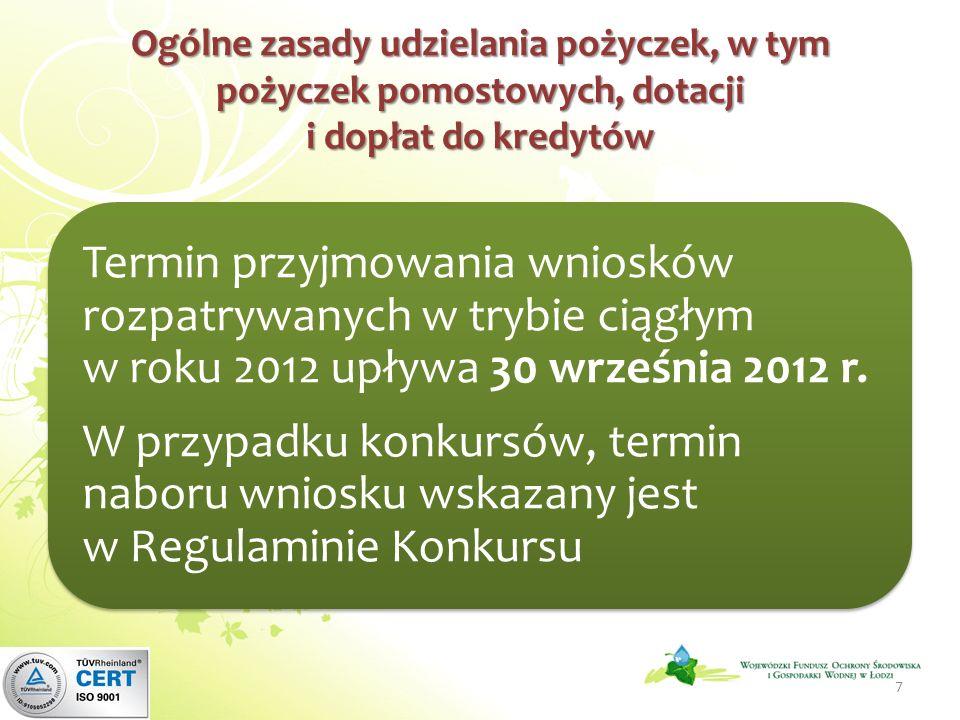 Ogólne zasady udzielania pożyczek, w tym pożyczek pomostowych, dotacji i dopłat do kredytów Termin przyjmowania wniosków rozpatrywanych w trybie ciągłym w roku 2012 upływa 30 września 2012 r.