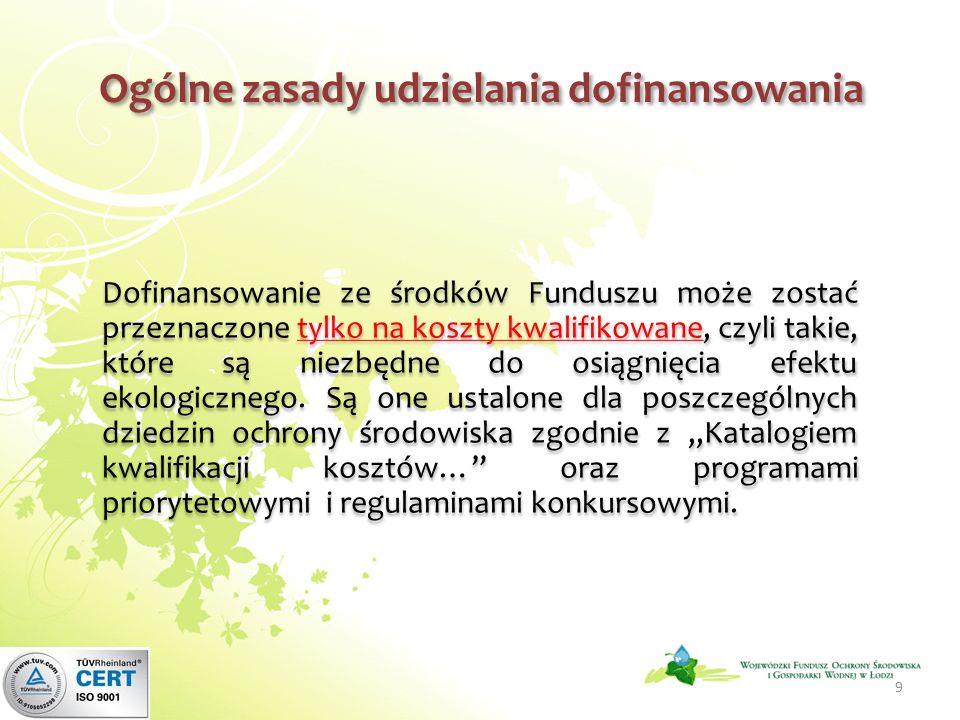 Ogólne zasady udzielania dofinansowania 9 Dofinansowanie ze środków Funduszu może zostać przeznaczone tylko na koszty kwalifikowane, czyli takie, które są niezbędne do osiągnięcia efektu ekologicznego.