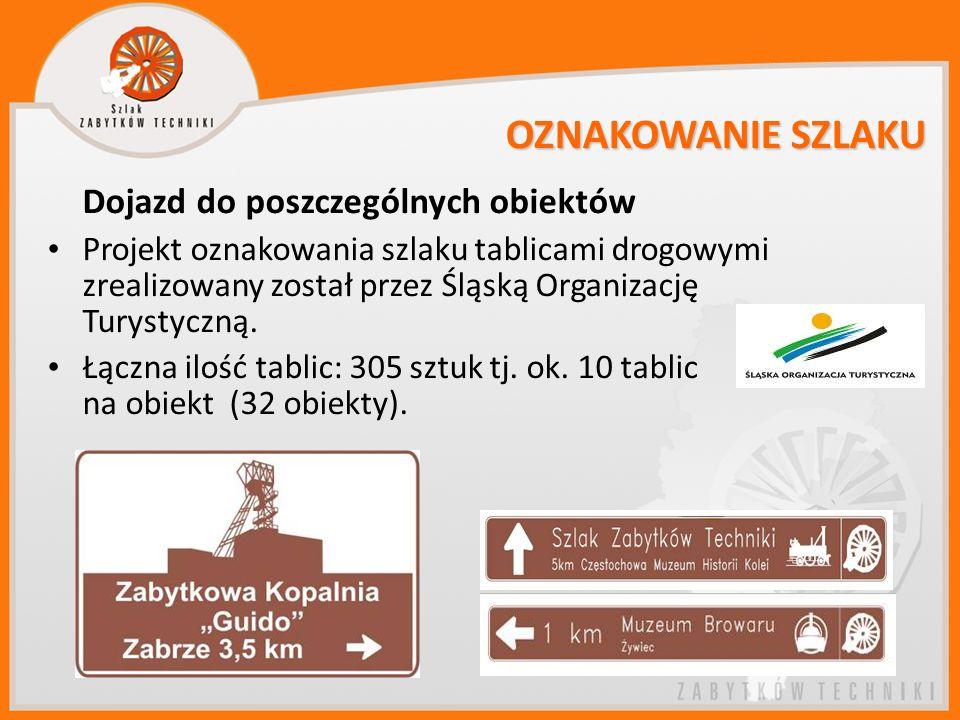 OZNAKOWANIE SZLAKU Dojazd do poszczególnych obiektów Projekt oznakowania szlaku tablicami drogowymi zrealizowany został przez Śląską Organizację Turys