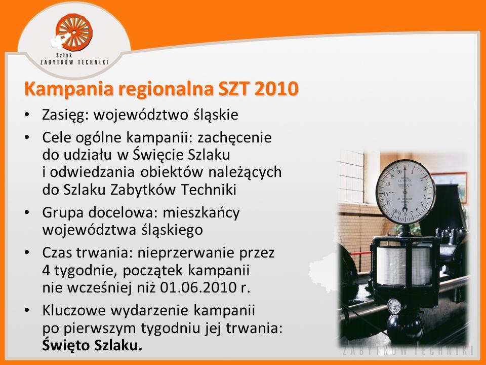 Kampania regionalna SZT 2010 Zasięg: województwo śląskie Cele ogólne kampanii: zachęcenie do udziału w Święcie Szlaku i odwiedzania obiektów należącyc