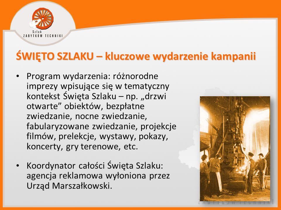 Program wydarzenia: różnorodne imprezy wpisujące się w tematyczny kontekst Święta Szlaku – np. drzwi otwarte obiektów, bezpłatne zwiedzanie, nocne zwi
