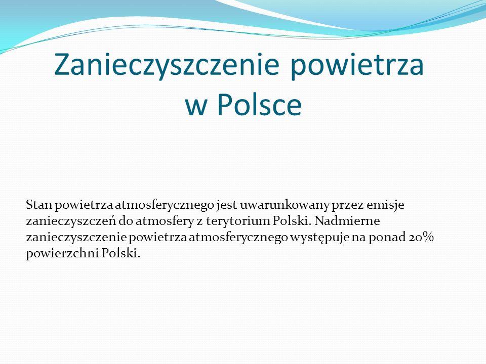 Zanieczyszczenie powietrza w Polsce Stan powietrza atmosferycznego jest uwarunkowany przez emisje zanieczyszczeń do atmosfery z terytorium Polski. Nad