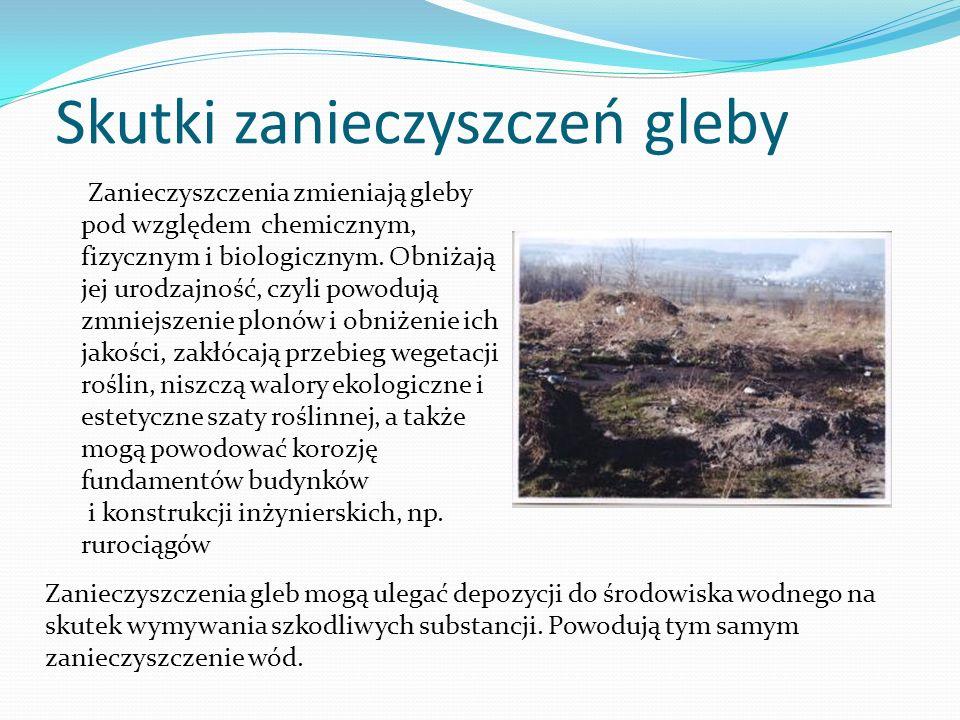 Zanieczyszczenia gleb mogą ulegać depozycji do środowiska wodnego na skutek wymywania szkodliwych substancji. Powodują tym samym zanieczyszczenie wód.
