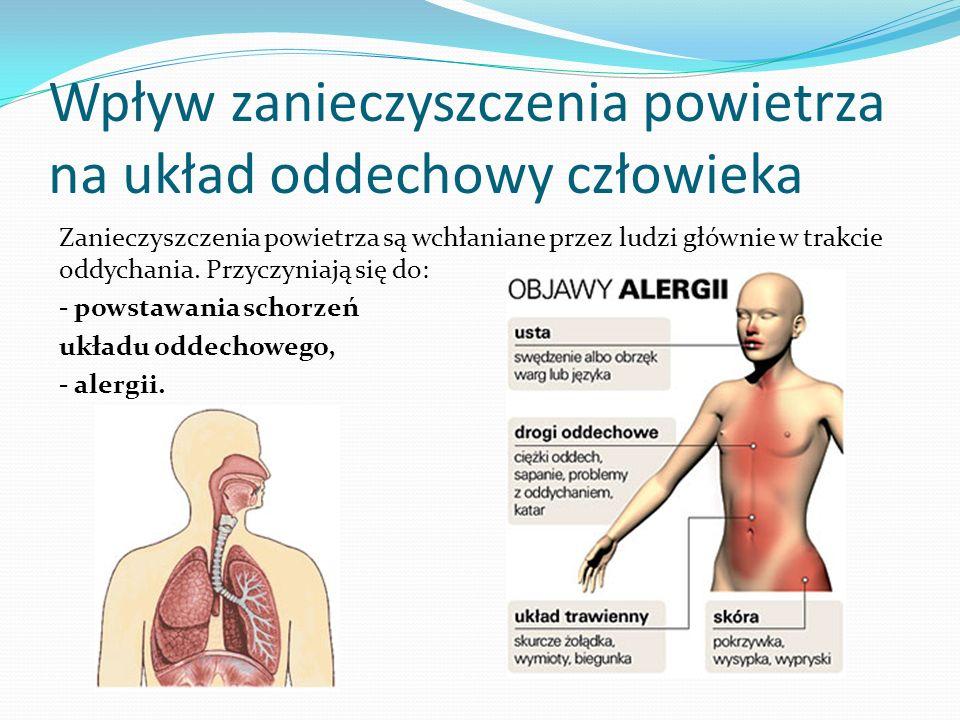 Wpływ zanieczyszczenia powietrza na układ oddechowy człowieka Zanieczyszczenia powietrza są wchłaniane przez ludzi głównie w trakcie oddychania. Przyc