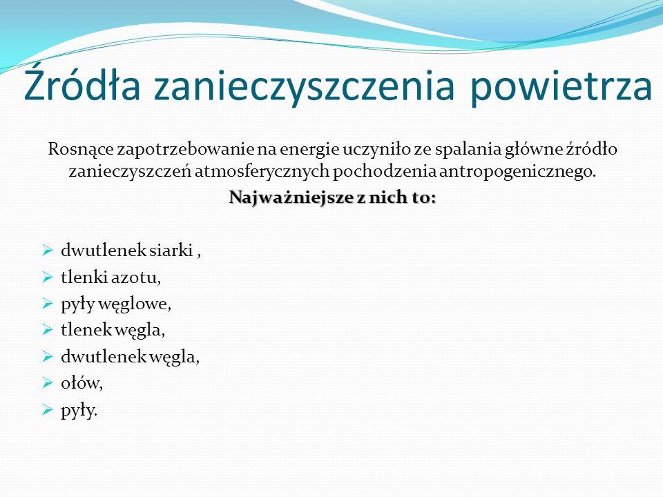 Zanieczyszczenie powietrza w Polsce Stan powietrza atmosferycznego jest uwarunkowany przez emisje zanieczyszczeń do atmosfery z terytorium Polski.