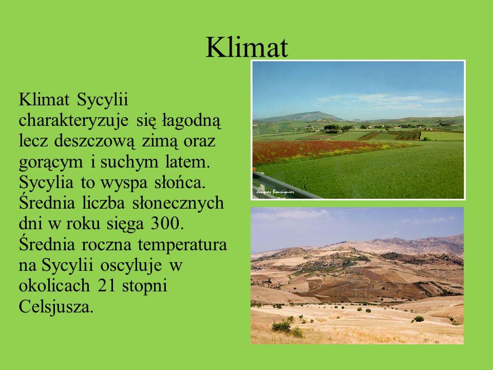 Klimat Klimat Sycylii charakteryzuje się łagodną lecz deszczową zimą oraz gorącym i suchym latem. Sycylia to wyspa słońca. Średnia liczba słonecznych