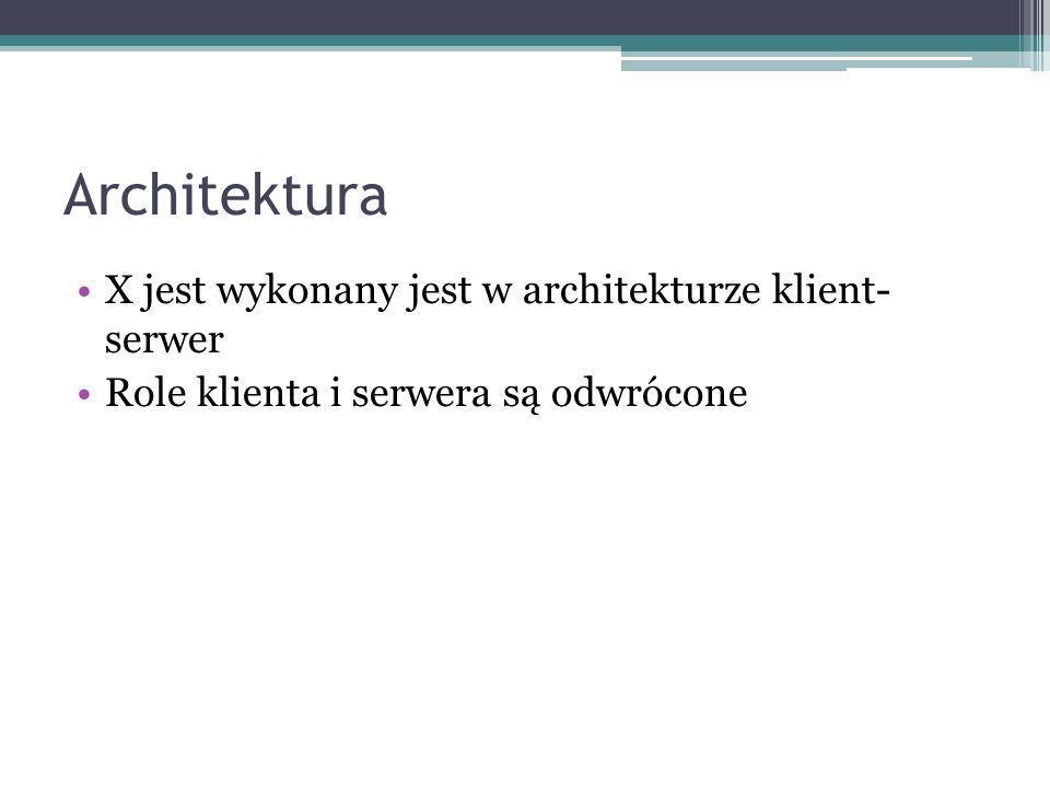 Architektura X jest wykonany jest w architekturze klient- serwer Role klienta i serwera są odwrócone