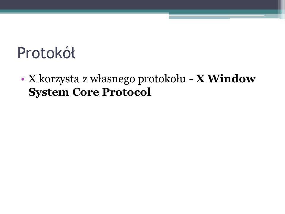 X korzysta z własnego protokołu - X Window System Core Protocol