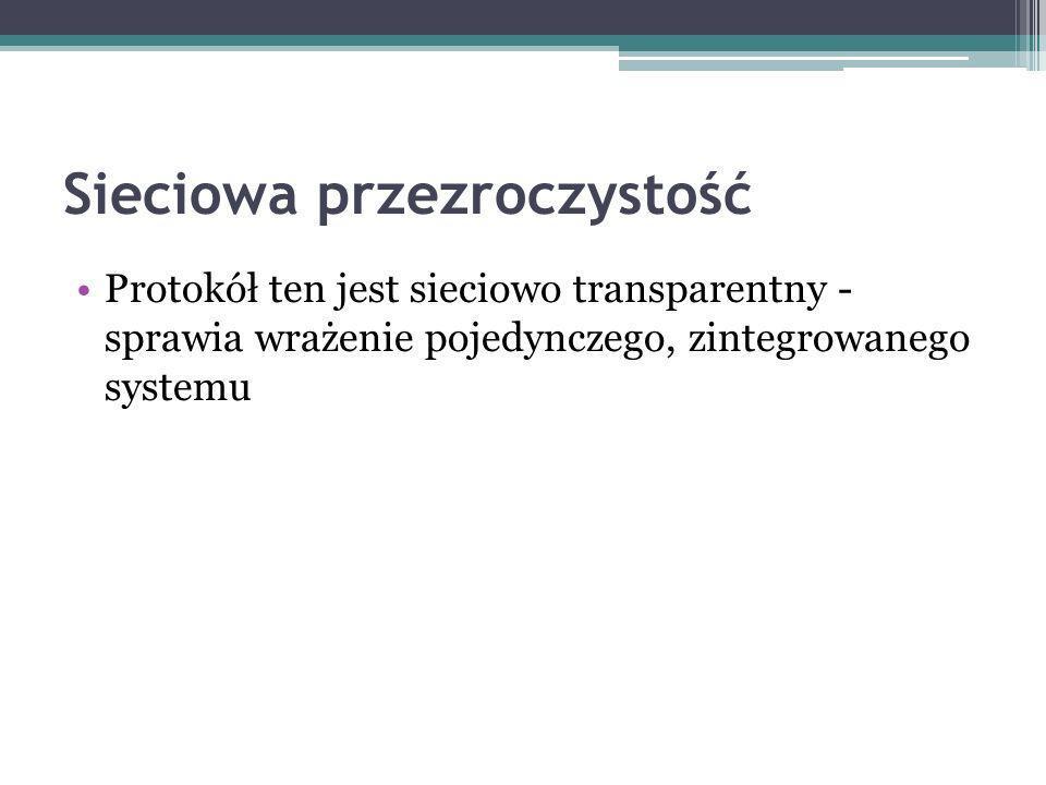 Protokół ten jest sieciowo transparentny - sprawia wrażenie pojedynczego, zintegrowanego systemu