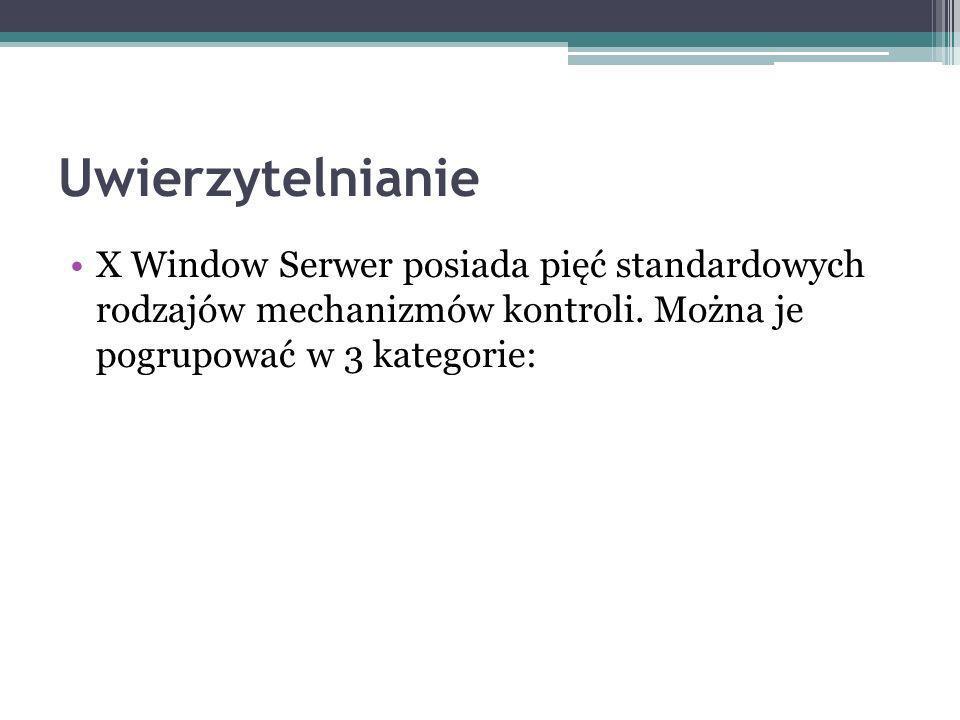 X Window Serwer posiada pięć standardowych rodzajów mechanizmów kontroli.