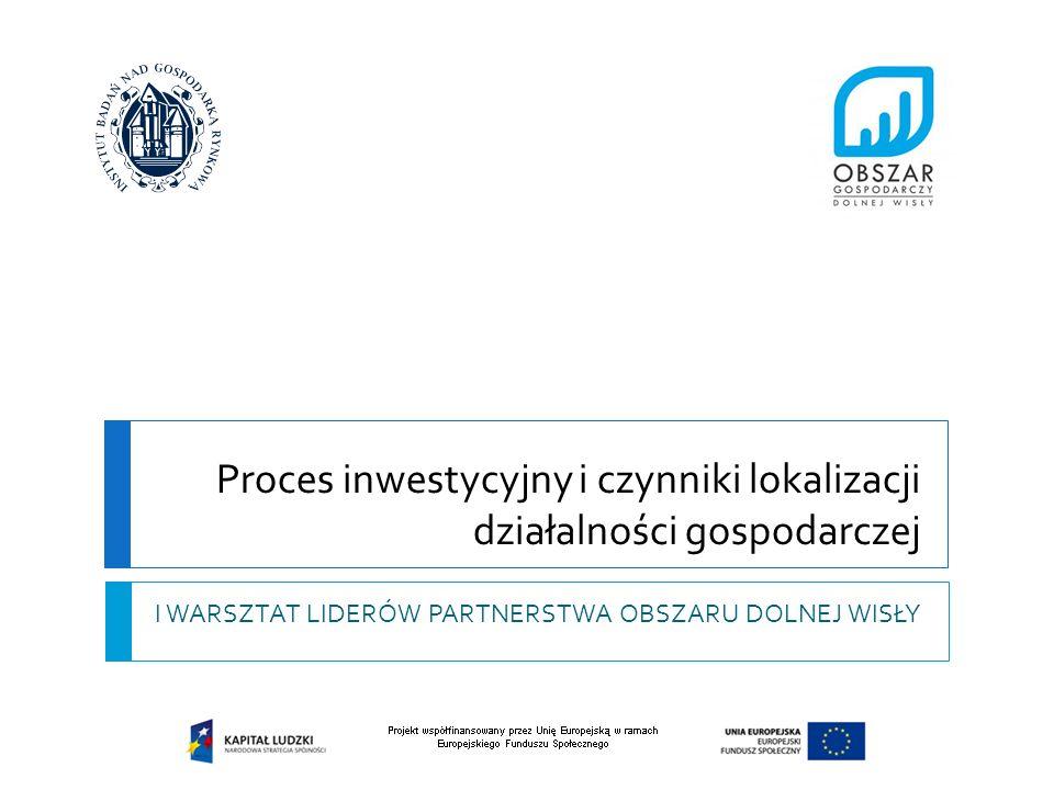 Proces inwestycyjny i czynniki lokalizacji działalności gospodarczej I WARSZTAT LIDERÓW PARTNERSTWA OBSZARU DOLNEJ WISŁY
